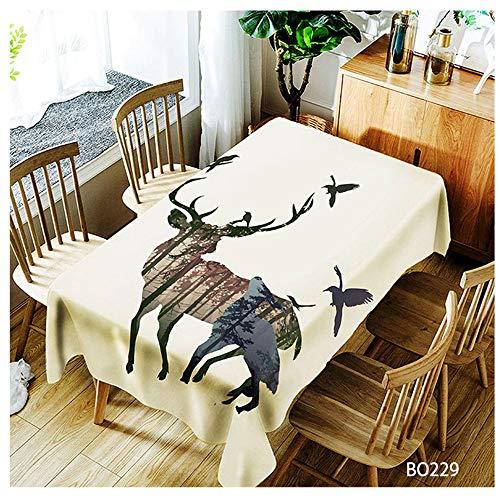 QWEASDZX Tischdecke Kreative Mode National Style Polyester Dekorative Tischdecke Ölbeständiges Antifouling Rechteckige Tischdecke Geeignet für drinnen und draußen Mehrweg 140x180cm