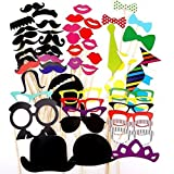 Alohha Colorful Photo Booth Props Party Favor for Wedding Party Graduation Birthdays Dress-up Accessories Costumes with Mustache, Hats, Glasses, Lips, Bowler, Bowties on Sticks (58 PCS)