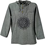 Guru-Shop Yoga Hemd, Goa Hemd Om, Sweatshirt, Herren, Grau, Baumwolle, Size:L, Männerhemden Alternative Bekleidung