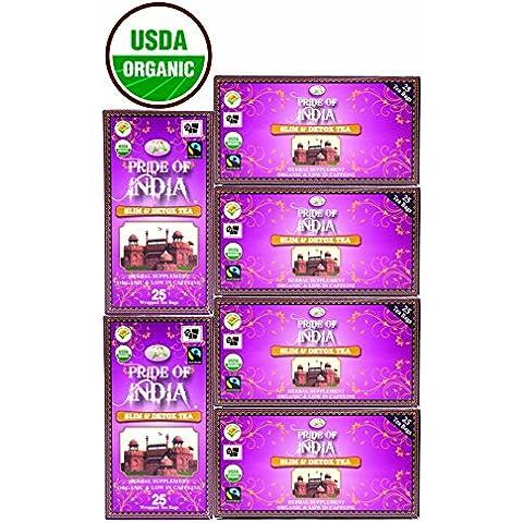 Pride Of India - Organic Slim & Detox Tea, 25 Count (3-Pack): BUY 1 GET 1 FREE (6 BOXES TOTAL)