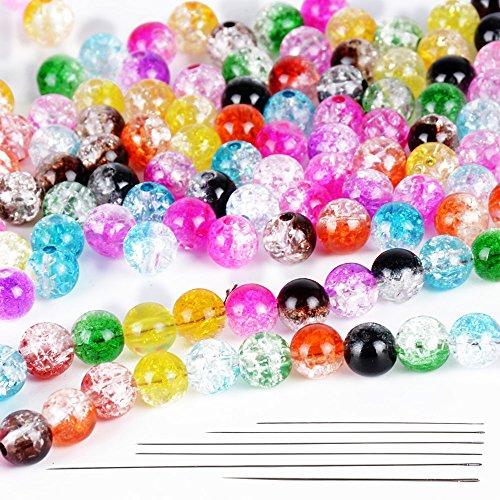 DEOMOR 400 Stk 8mm Glasperlen Acryl Perlen zum auffädeln Bastelperlen Basteln Schmuckperlen mit Loch mix bunt Rund gemischt + 6 Stk Perlennadeln metall für Schmuckherstellung DIY Halsketten Armband