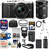 Olympus PEN E-PL8 Wi-Fi Micro 4/3 Digital Camera & 14-42mm II R (Black) with 40-150mm Lens + 64GB Card + Case + Flash + Battery + Charger + Tripod Kit