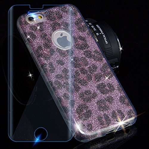 EGO Hülle Glitzer Schutzhülle für iPhone 6 6S Silber Schmetterling Back Case Bumper Glänzend Transparente TPU Bling Weiche Glamour Handy Cover Leopard Pink + Glas