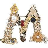Spilla dell'alfabeto della perla di cristallo,Spilla con lettera iniziale di strass,Smalto placcato oro,Gioielli colorati del