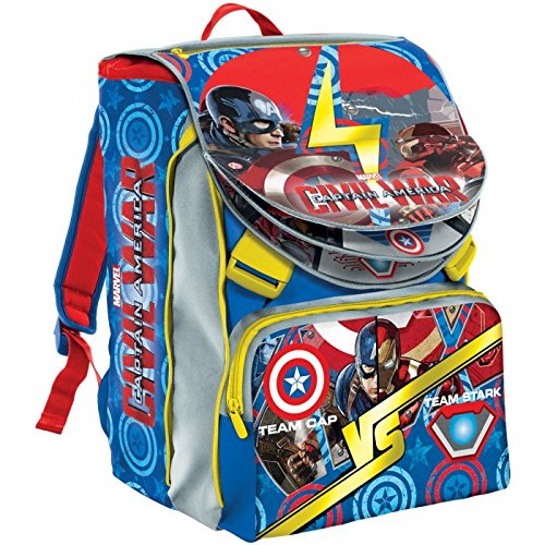 ZAINO ESTENSIBILE AVENGERS CIVIL WAR MARVEL CM 40X28X13(+9) IN OMAGGIO PERSONAGGIO 30 CM IRONMAN MARVEL