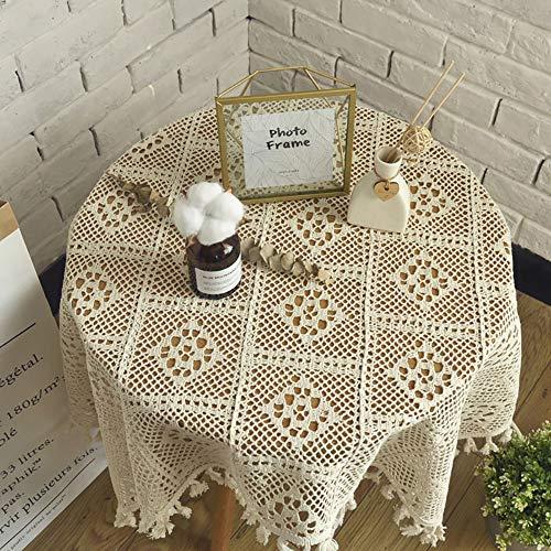 Spitze Tischdecke, Vintage Strick Durchbrochene Quaste Runde Tischdecke - Sofa Handtuch,Positivesquare-140 * 200