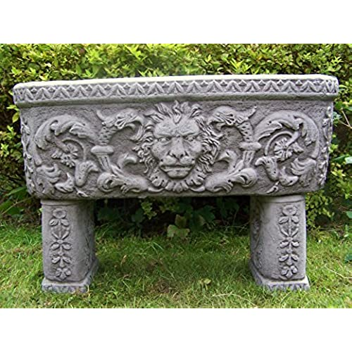 Stone Garden Planters And Troughs Stone garden planters amazon lion trough hand cast stone garden ornament flower pot planter workwithnaturefo
