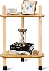COSTWAY Beistelltisch Sofatisch Rollwagen Nachttisch Telefontisch Anstelltisch Konsolentisch Couchtisch Kaffeetisch Balkontisch Wohnzimmertisch Flurtisch Ablagetisch Blumentisch auf Rollen Holz Natur