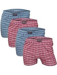 4er Pack weiche Herren Feinripp Boxershorts aus 100% Baumwolle in 5 Farben