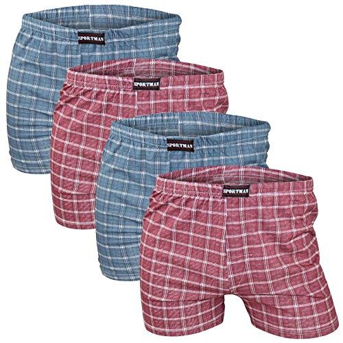 4er Pack weiche Herren Feinripp Boxershorts aus 100% Baumwolle in 5 Farben 2x weinrot 2x blau