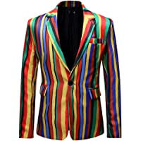 iHAZA Men's Dress Formal Striped Suit Notched Lapel Slim Fit Stylish Blazer Coat Jacket