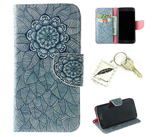 Preisvergleich Produktbild Silikonsoftshell PU Hülle für Samsung Galaxy S6 Edge (5,1 Zoll) Tasche Schutz Hülle Case Cover Etui Strass Schutz schutzhülle Bumper Schale Silicone case+Exquisite key chain X1#AZ (3)