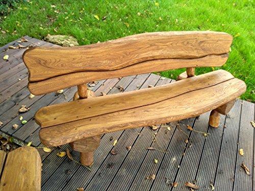Gartenbank aus Massivholz | Farbe Eiche – Parkbank aus Akazien- und Tannenholz | Perfekt als Geschenk - 5