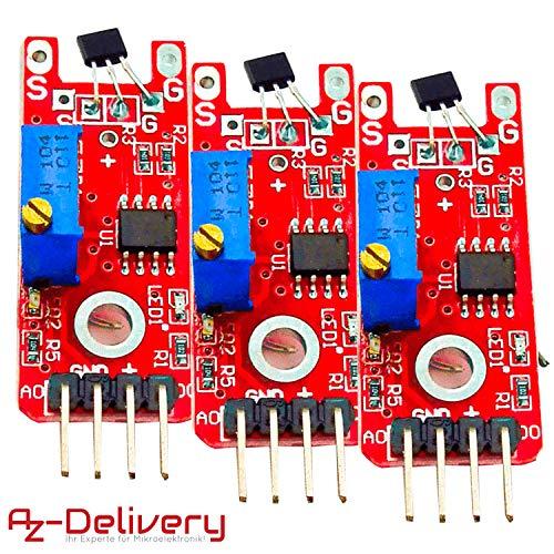 AZDelivery 3 x KY-024 Linear Magnetic Hall Sensor für Arduino mit gratis eBook!