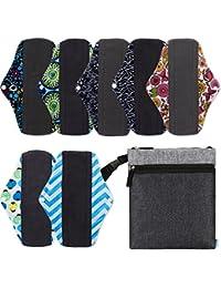 NiceEbag Reusable Sanitary Pads 7 Pcs Set With Wet Bag 10'' Regular Charcoal Bamboo Mama Cloth/Menstrual Pads/...