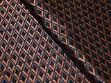 Italienisches Geometrische Brokat Kleid Stoff Rost & Grau,
