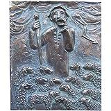 escultura estatua figura el Buen Pastor 17 cm * 14 cm bronce noble patina verde
