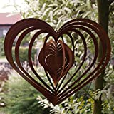 Dekostüberl Edelrost Windspiel Spirale Herz groß 30 x 26 cm, inkl. Herz 8x6cm Gartendeko Geschenk