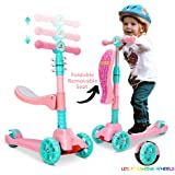Scooter for Kids with Foldable and Removable Seat – Adjustable Height, LED Light Wheels,3 Wheels Kick Scooter for Girls & Boy