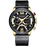 New Fashion Mens Watch Leather Luxury Brand Sports and Leisure Quartz Chronograph Waterproof Watch