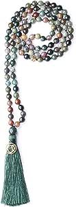 COAI Collana Mala 108 Perle in Pietre Naturali Annodate a Mano con Nappa e Amuleto Om, Rosario Buddista