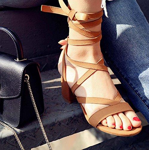Sandalo per le donne Scarpe casual di scarpe da lavoro della Boemia di fascia della pelle scamosciata Camel