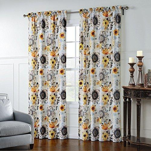 25Größen erhältlich Print Artistic Sonnenblumen Muster Unterstoff Fenster Behandlung Vorhänge und Vorhänge Panels, Textil, Rod Pocket Top, 1*(50