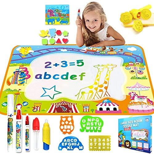 SSBH Wasser Doodle Mat, Kinder große Aqua Coloring Mat, Mess-Free Zeichnungsmatte mit Neonfarben, pädagogisches Spielzeug for 2, 3, 4, 5, 6, 7, 8 Jahre alt Kinder, Kleinkinder, Jungen, Mädchen