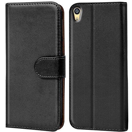 Verco Xperia Z2 Hülle, Handyhülle für Sony Xperia Z2 Tasche PU Leder Flip Case Brieftasche - Schwarz