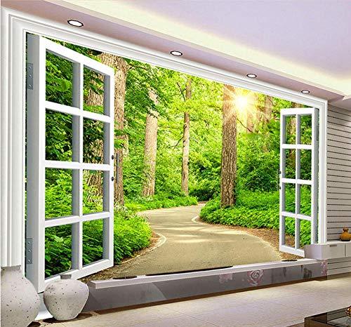 Benutzerdefinierte 3D Fototapete Green Sunshine Forest Road Fenster Natur Landschaft Wandbild Wohnzimmer Sofa Tv Hintergrundbild