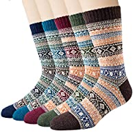 Justay 5 Pairs Merino Wool Socks, Thicken Thermal Womens Crew Sock for Hiking Backpacking Climbing Winter