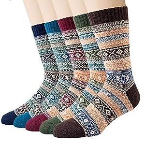 Justay 5 Paar Winter Merino Socken Damen Dicke Wollsocken, Wandersocken Warme Kuschelsocken Thermosocken, atmungsaktive…