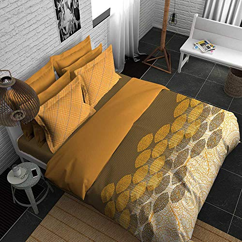 Boutique Living India - Grey,Yellow,Beige 300TC King Size Cotton Printed with 2 Pillow Covers Bedsheet Set-(274cm x 274cm) Glean Plaid - Buy Online Bedsheet