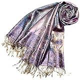 LORENZO CANA - Luxus Pashmina aus 100% Seide Damenschal 70 x 190 cm Creme Lila Gold Blau Paisley Seidenschal Damentuch - 78083
