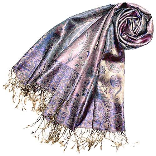 Wunderschöne Damen Mantel Jacke Seide (LORENZO CANA Luxus Pashmina Damenschal Schaltuch jacquard gewebt 100% Seide 70 x 190 cm Paisley Muster Seidenschal Seidentuch Seidenpashmina harmonische Farben)