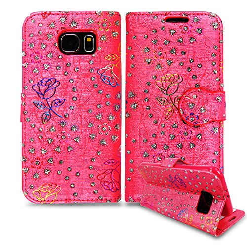 Apple iPhone 6/6G 11,9cm–QUALITÉ Premium Étui portefeuille à rabat en cuir PU avec film protecteur d'écran chiffon en microfibre Stylet + Écran LCD, Imitation cuir,  - Printed Blue Pink Butterfly, - Hot Pink Diamond Case