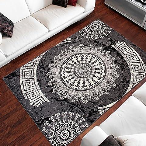 Tapis 160 X 160 Blanc - Tapis Moderne Design Ornement Gris Differentes Dimensions
