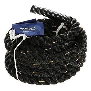 TOMSHOO Battle Rope Exercise Fitness Rope 38mm/50mm Diameter Rope 10m/12m/15m Length Rope