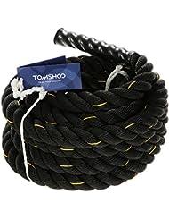 TOMSHOO Corde de bataille Corde d'entrainement Ondulatoire Corde d'exercice Combat Corde de Fitness 38mm / 50mm Diamètre 10m / 12m / 15m Longueur Corde cross fit