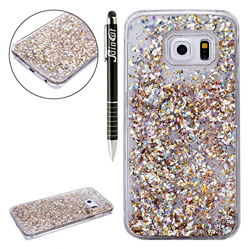 SainCat Coque Samsung Galaxy S6 Edge,Design 3D Transparent Liquide Paillette Brillante Coque...