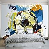 Leegt 3D Tapete Wallpaper Mural Modern Fashion Handbemalte Graffiti Fußball-Wallpaper Benutzerdefinierte Wandbild Wand Dekoration Kunst Wandmalerei Fußball 300cmX250cm