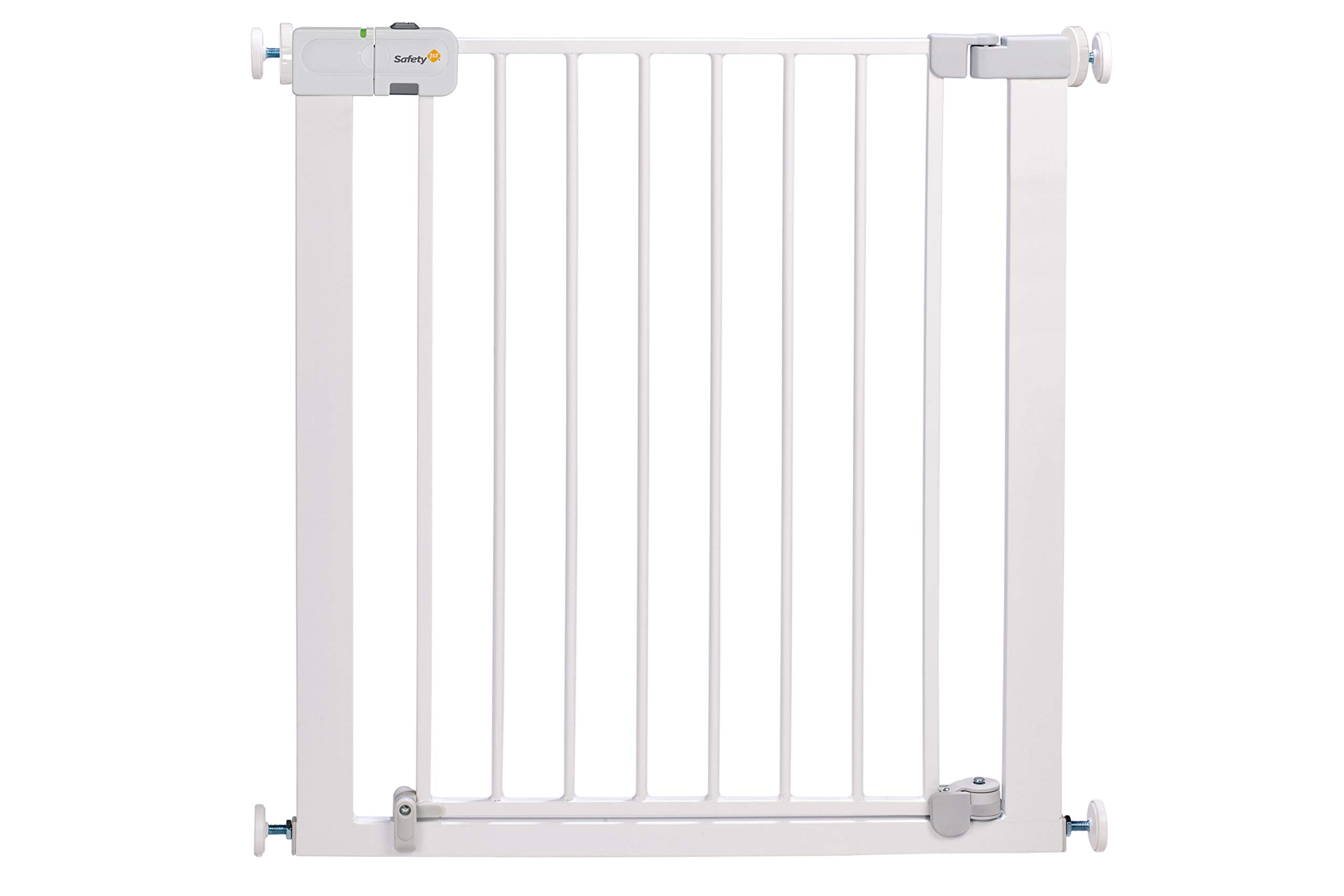 """Safety 1st Secure Tech Auto Close Metal Gate, White Safety 1st One handed opening """"true"""" auto-closing whatever the opening amplitude U-shaped frame with 4 pressure points provides solid fit and doesn't require drilling Secure tech indicator shows the gate is safely locked into place 3"""