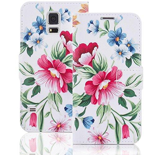 numerva Handyhülle kompatibel mit Nokia Lumia 530 Hülle [Flower Muster] Case Nokia Lumia 530 Handytasche