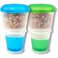 Schramm® Set de 2 gobelets à yaourts et muesli à emporter avec compartiment isotherme intégré et cuillère