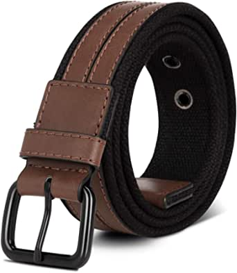 Mens Elastic Belts Brown Black Braided Canvas Leather Splice Casual Belt Men for Jeans Trouser