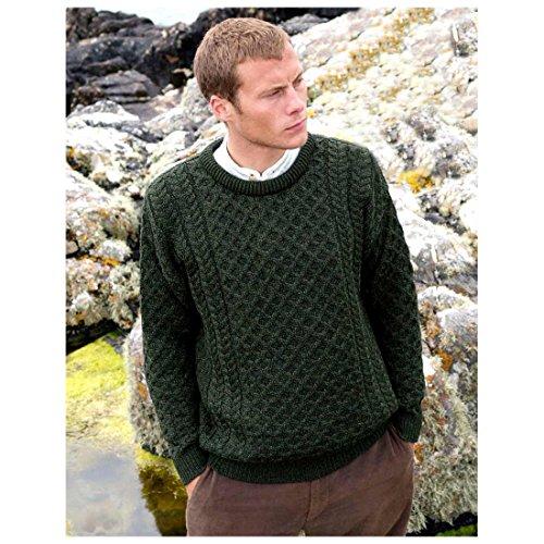 100% Merinowolle Aran Pullover mit rundem Ausschnitt, grün (Pullover Irische)