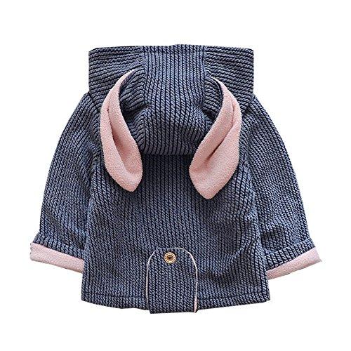 Cystyle Baby Kinder Mädchen Winter Jacke Kinderjacken mit Bunny Ohren,2-4 Jahre (73/Körpergröße 60-68cm, Blau)