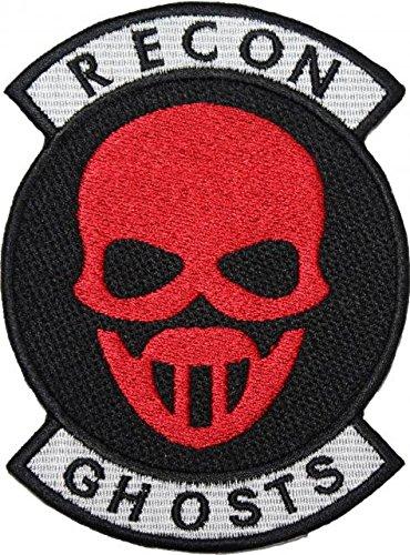 TOM CLANCY 'S GHOST RECON rot Maske mit Rocker Badge bestickt Patch 12,7cm Aufnäher oder zum Aufbügeln (Recon Maske)