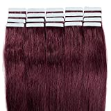 Extension Adhesive en Cheveux Naturel Raide - Tape in Remy Human Hair Extensions – 20pcs/50g - 40cm - #99J Vin rouge
