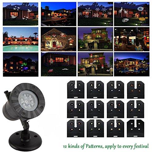 r mit 12 Motiven, Effektlicht Austauschbare Patterns Projektionslampe, ideale Beleuchtungs dekoration für Halloween Weihnachten Karneval Kinder Geburtstags Party. indoor & outdoor  (Halloween-geburtstags-party-spiele)